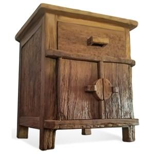 Rustic Solid Wood Nightstand with Doors