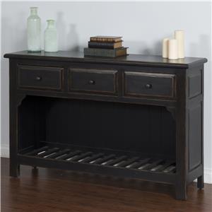 Sofa Table with 3 Drawers & Slat Shelf