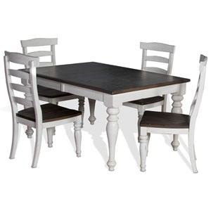 Sunny Designs Bourbon Country 5-Piece Extension Dining Table Set
