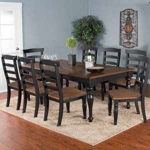 9-Piece Extension Dining Table Set with Ladderback Chairs