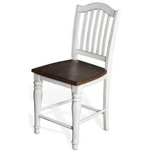 "Two-Tone 24""H Slatback Stool with Wood Seat"