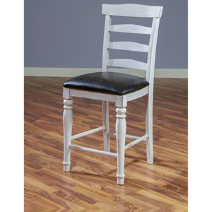 "Ladderback 24""H Barstool with Cushion Seat"