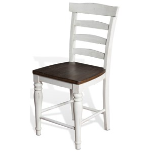 "Two-Tone 24""H Ladderback Barstool with Wood Seat"