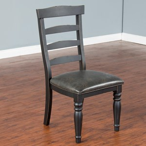 Two-Tone Ladderback Chair with Cushion Seat