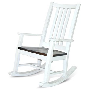 Cottage Ladderback Rocker with Wood Seat