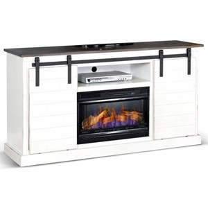 Cottage Barn Door TV Console with Electric Fire Place Insert Compatibility