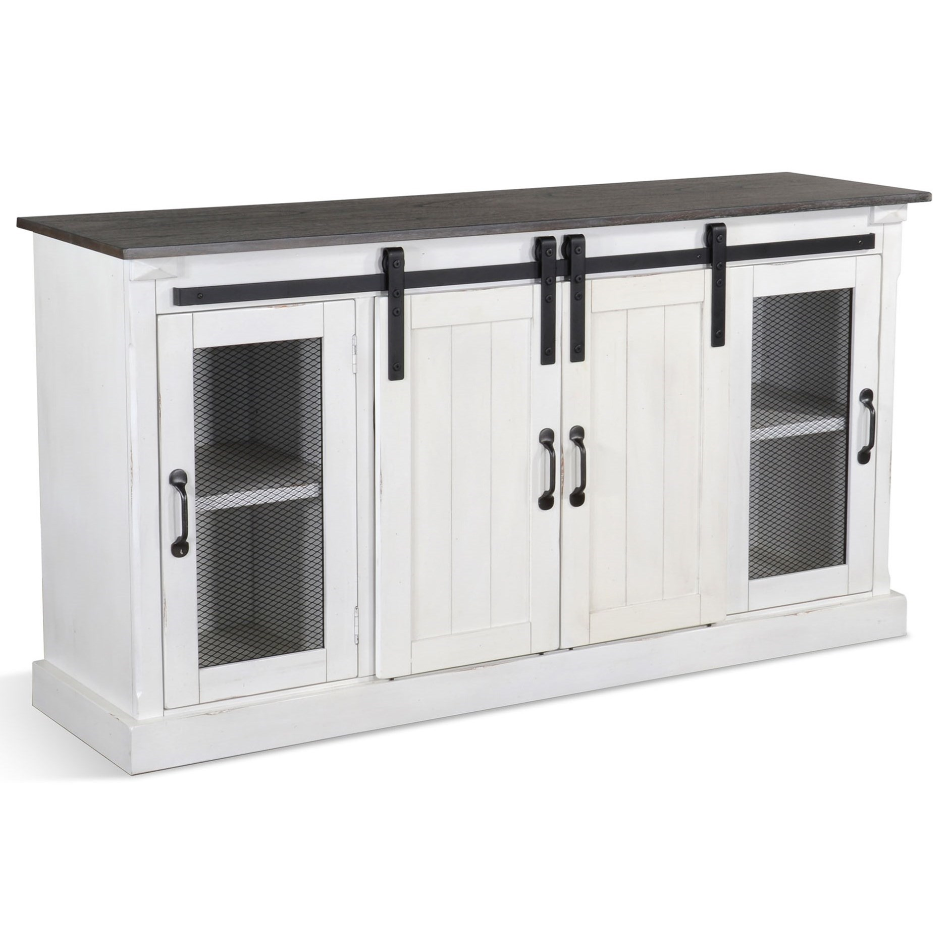 Bourbon County Credenza Barn Door White by Sunny Designs at Sparks HomeStore