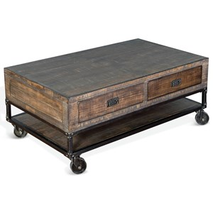 Pine and Metal Coffee Table w/ Casters