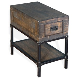 Pine and Metal Chair Side Table