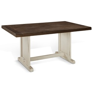 Cottage Trestle Table with Two-Tone Finish