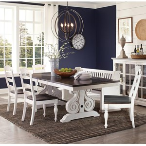 6 Piece Cottage Dining Set with Trestle Table and Banquette Bench