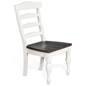 Two-Tone Ladderback Chair with Wood Seat