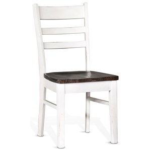Ladderback Dining Side Chair with Weathered Finish