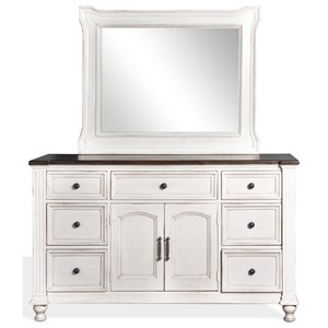 7 Drawer Dresser and Mirror Combo in European Cottage Finish