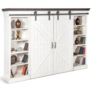 Cottage Entertainment Wall Unit with Sliding Barn Doors