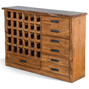 Rustic Server with Wine Bottle Storage