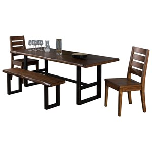 Sunny Designs Cresent Hill 4-Piece Live Edge Table Set with Bench