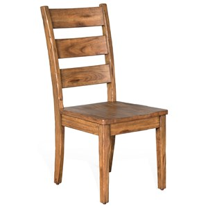 Distressed Mahogany Ladderback Chair with Wood Seat