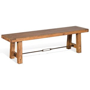 Dining Bench with Metal Turnbuckle Stretcher
