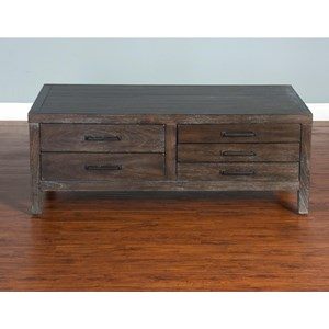 Rustic Coffee Table with Flip Top Storage