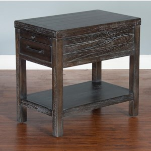 Rustic Chair Side Table with 3 Drawers