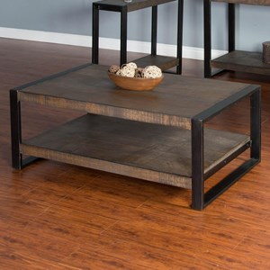 Distressed Pine Coffee Table with Industrial Metal Frame