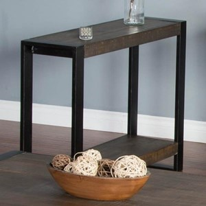 Distressed Pine Chair Side Table with Industrial Metal Frame