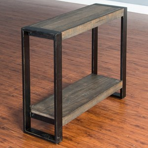 Distressed Pine Chair Side Table (Large) with Industrial Metal Frame
