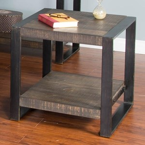 Distressed Pine Square End Table with Industrial Metal Frame