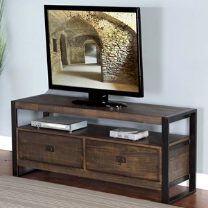 "54"" TV Console with Distressed Pine Shelves & Industrial Metal Frame"