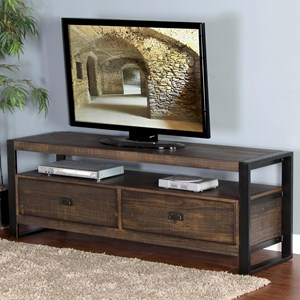 """64"""" TV Console with Distressed Pine Shelves & Industrial Metal Frame"""