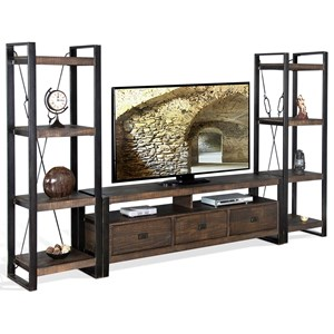 Distressed Entertainment Wall Unit with 3 Storage Drawers