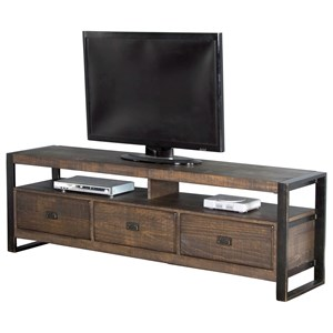 "64"" TV Console with Distressed Pine Shelves & Industrial Metal Frame"