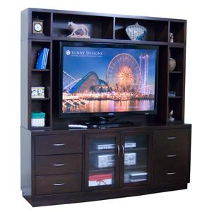 6-Drawer TV Console & Open Hutch