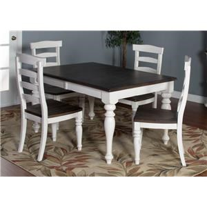 5-Piece Dining Set includes Extension Table and 4 Upholstered Side Chairs