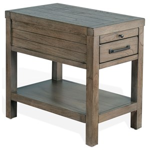 Rustic Chair Side Table with Felt-lined Top Drawer