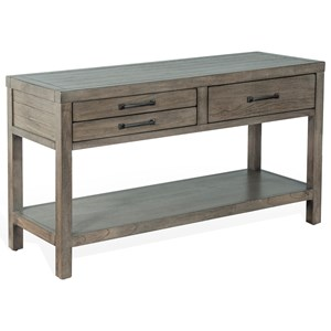 Rustic Sofa Table with 3 Drawers
