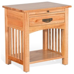Mission Wood Night Stand with Pull Out Shelf