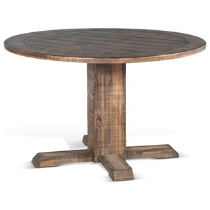 Rustic Round Table with Planked Top