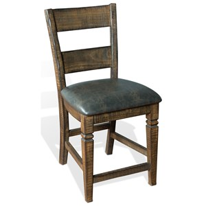 Solid Wood Ladderback Barstool with Cushion Seat