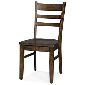 Ladderback Side Chair with Wood Seat