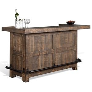 Rustic Bar with Wine Glass Storage