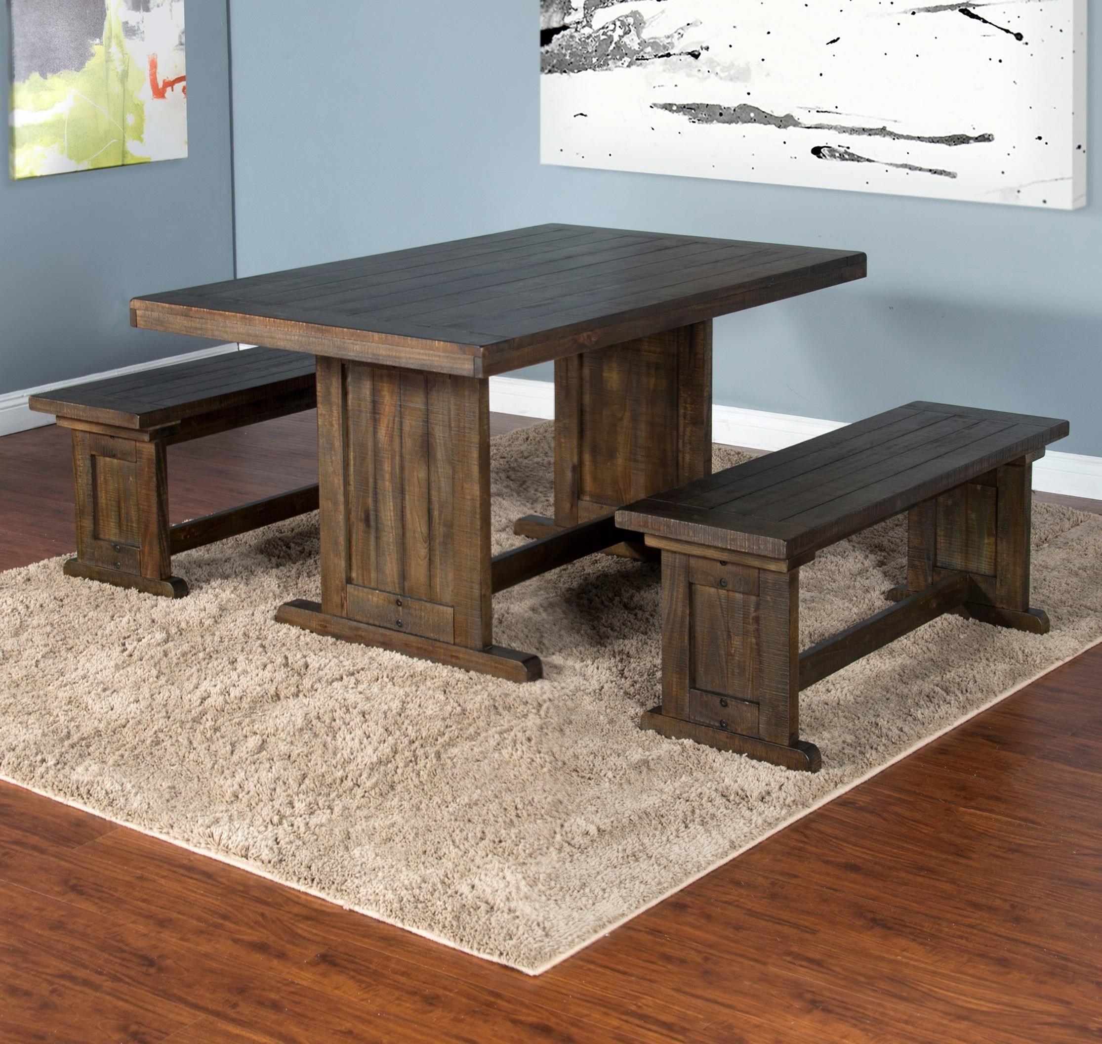 Homestead Table with 2 Benches by Sunny Designs at Sparks HomeStore