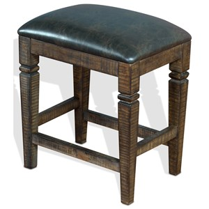 Counter Height Backless Stool w/ Cushion Seat