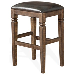 Bar Height Backless Stool w/ Cushion Seat