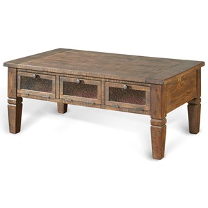 Rustic Pine Coffee Table w/ 3 Seeded Glass Doors
