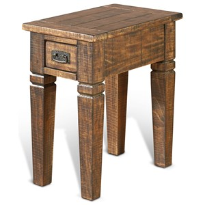 Rustic Pine Chair Side Table w/ 1 Drawer