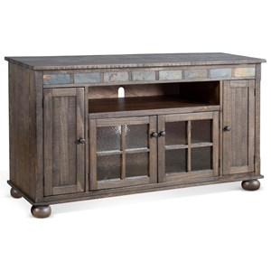 """Rustic 62"""" TV Console with Wire Management"""