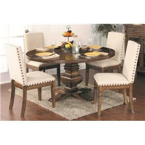 5-Piece Round Dining Set includes Table and 4 Side Chairs