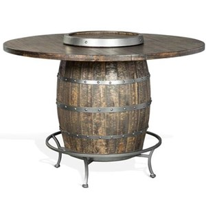 Rustic Round Pub Table with Wine Barrel Base